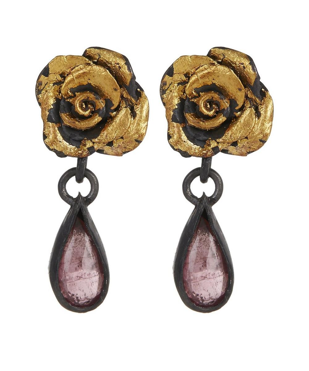 ACANTHUS Oxidised Silver Tourmaline Rose Drop Earrings