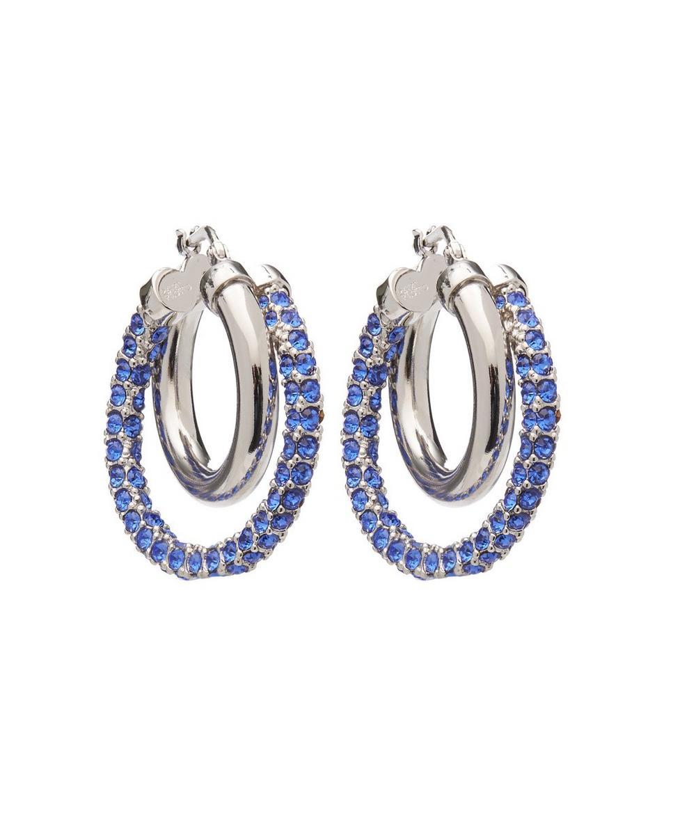 Silver Crystal Double Hoop Earrings