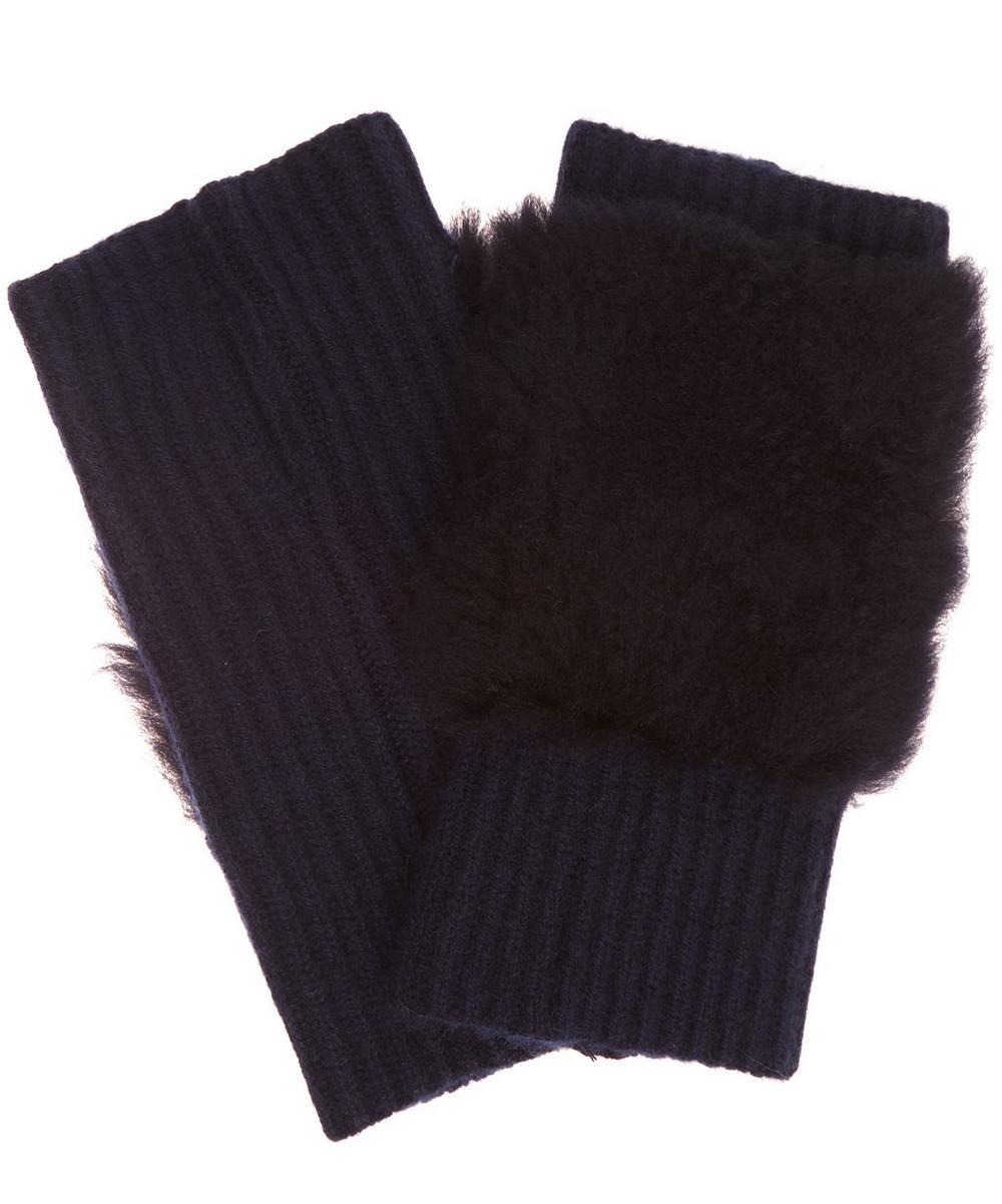 Cashmere Shearling Fingerless Gloves