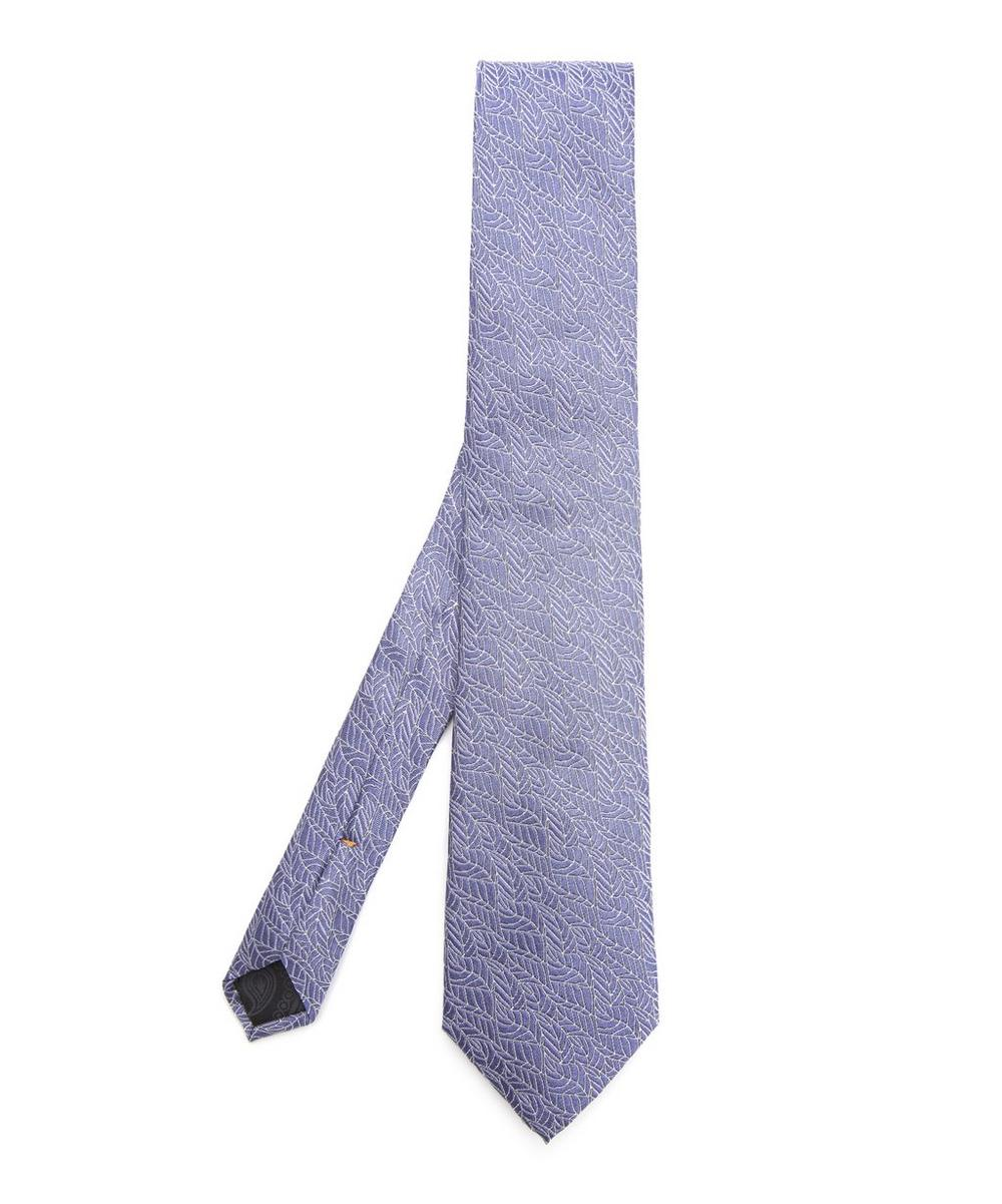 SIMON CARTER West End Autumn Leaves Silk Tie in Blue