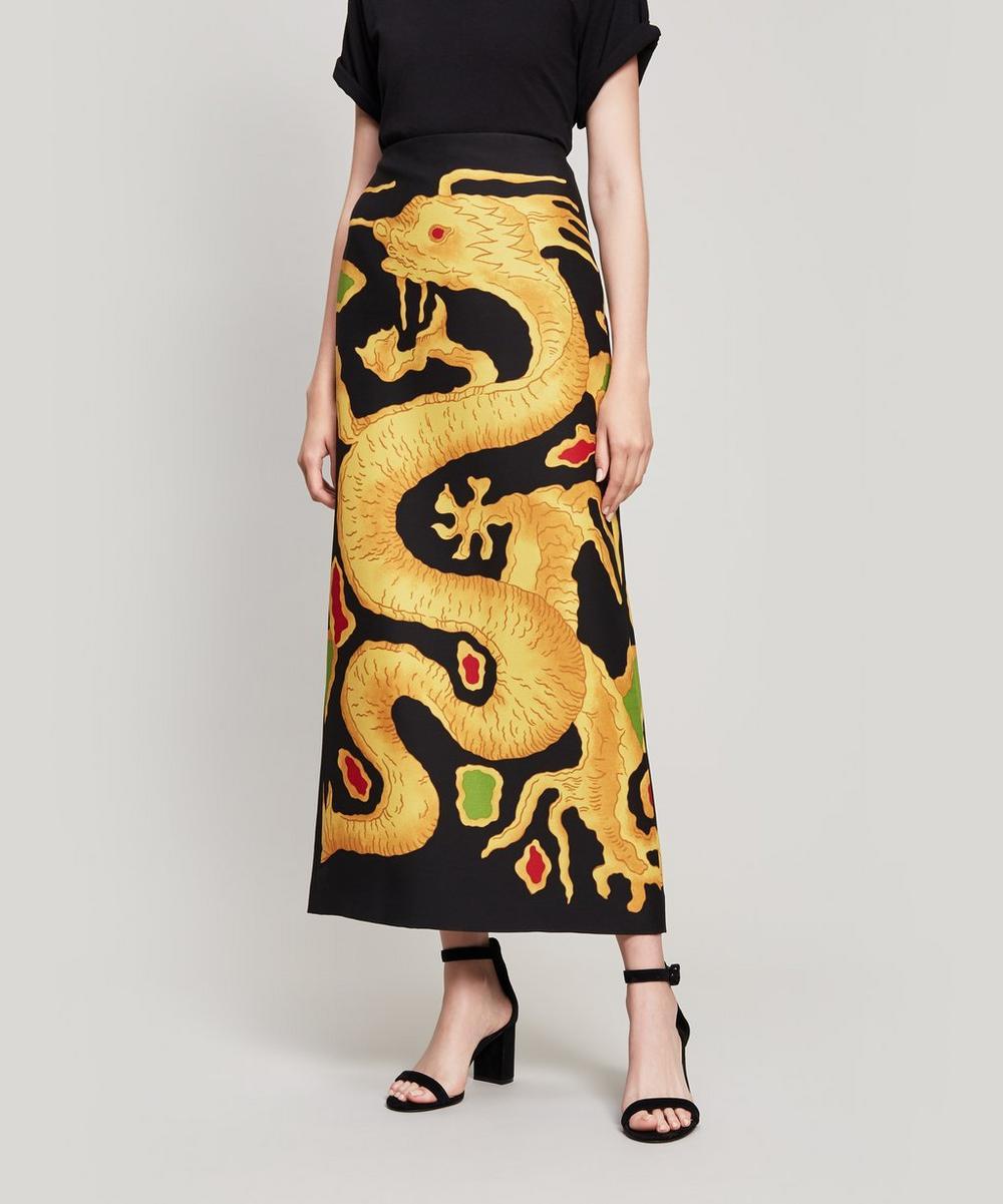 Dragon-Print Wool And Silk-Blend Skirt