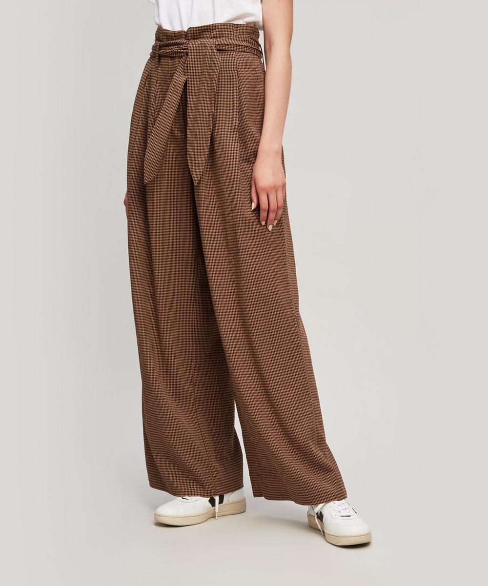 Nevada Gingham Woven Wide-Leg Pants