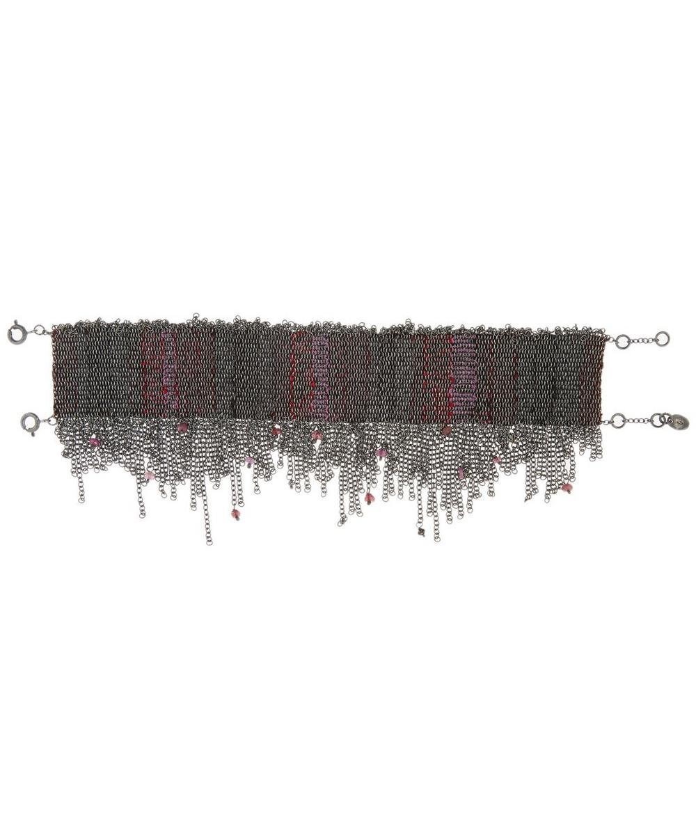 Oxidised Silver Ruby Silk Wide Chain Bracelet