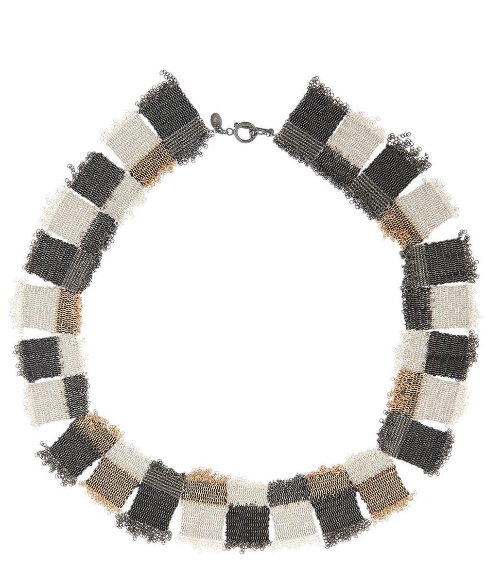 STEPHANIE SCHNEIDER Silver Patchwork Silk Chain Necklace