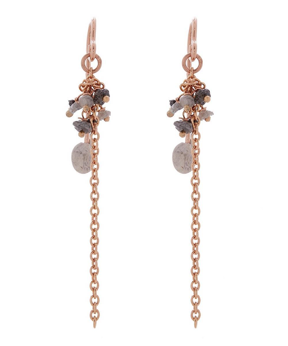 STEPHANIE SCHNEIDER Rose Gold-Plated Grey Diamond Chain Drop Earrings in Blue