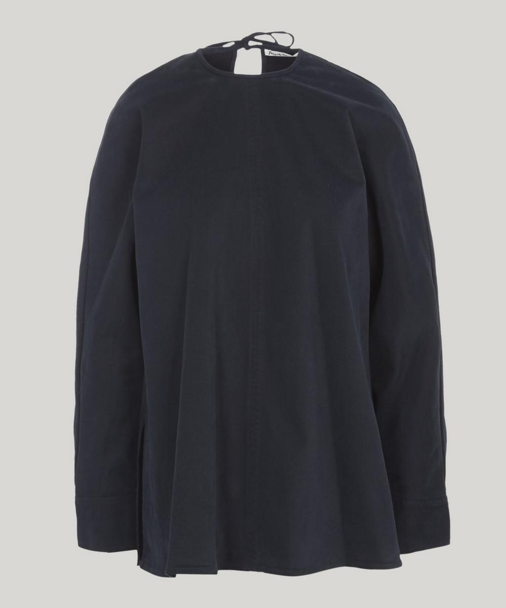 Tie Back Cotton Top, Blue