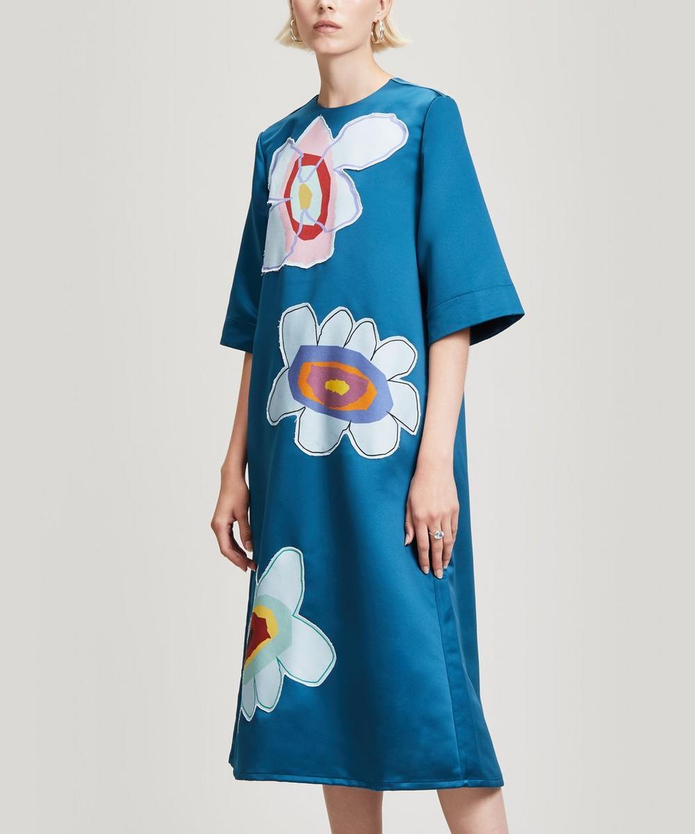 Mira Mikati FLOWER APPLIQUIDI-DRESS