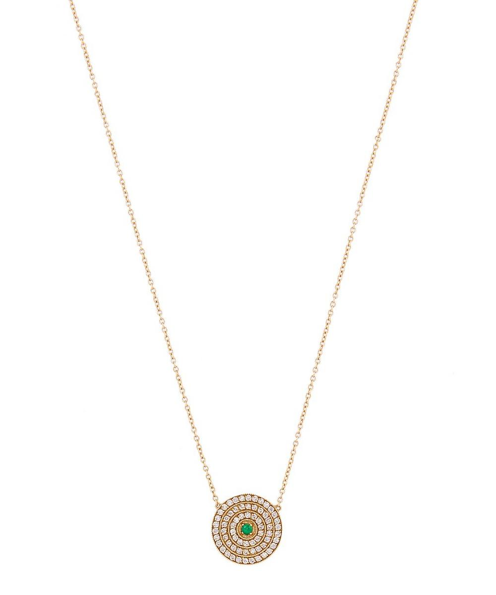 Gold Double Rainbow Multi-Stone Disc Necklace