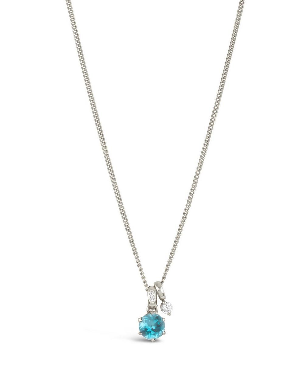 Silver Gem Drops Swiss Blue Topaz Pendant Necklace