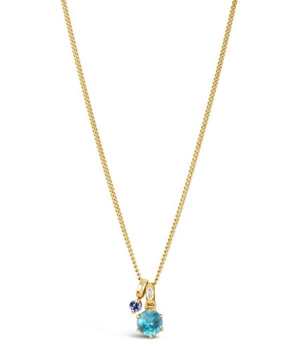 Gold Gem Drop Tanzanite Swiss Blue Topaz Pendant Necklace