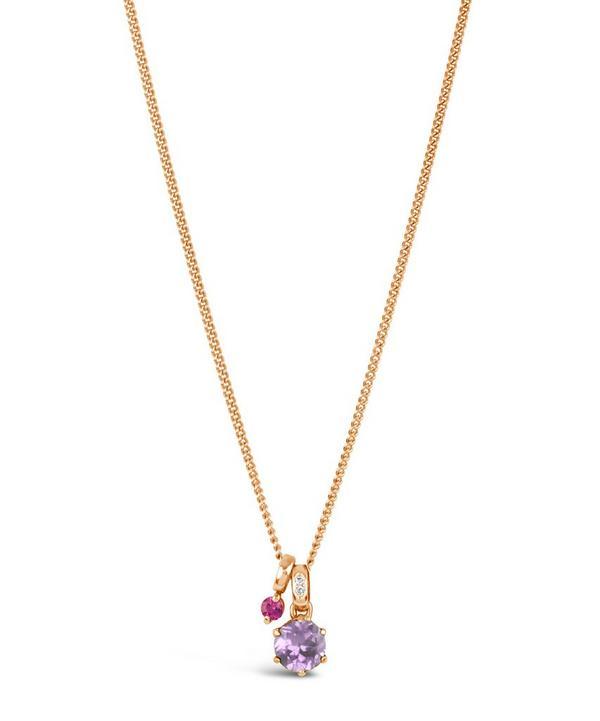 Rose Gold Gem Drop Freshwater Pearl Rose de France Pendant Necklace