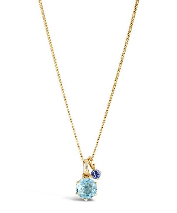 Gold Gem Drop Tanzanite Sky Blue Topaz Pendant Necklace