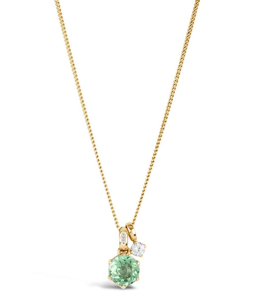 Gold Gem Drop Green Amethyst White Sapphire Pendant Necklace