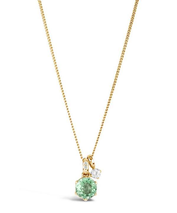Gold Gem Drop Green Amethyst White Sapphire Pendant Necklace