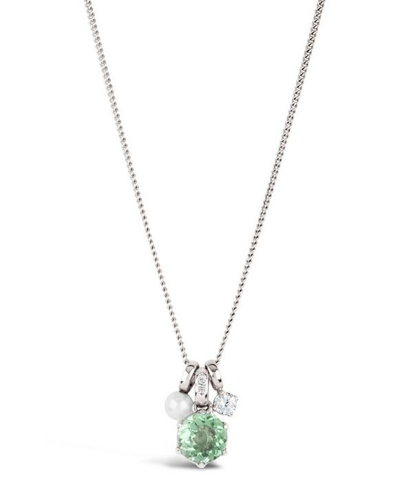 Silver Gem Drop White Sapphire Green Amethyst Freshwater Pearl Pendant Necklace
