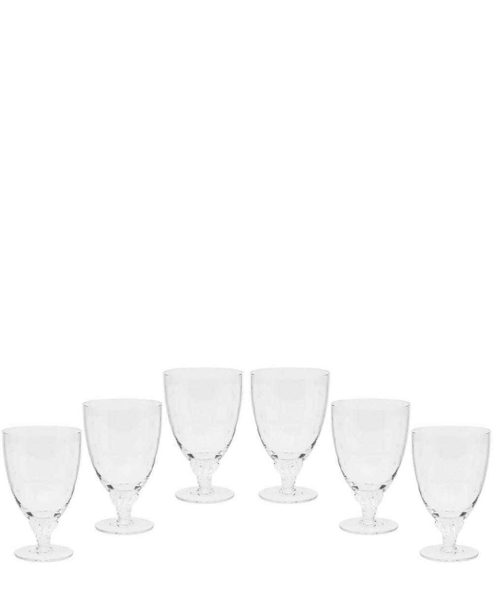 Set of Six Crystal Bistro Glasses With Stars
