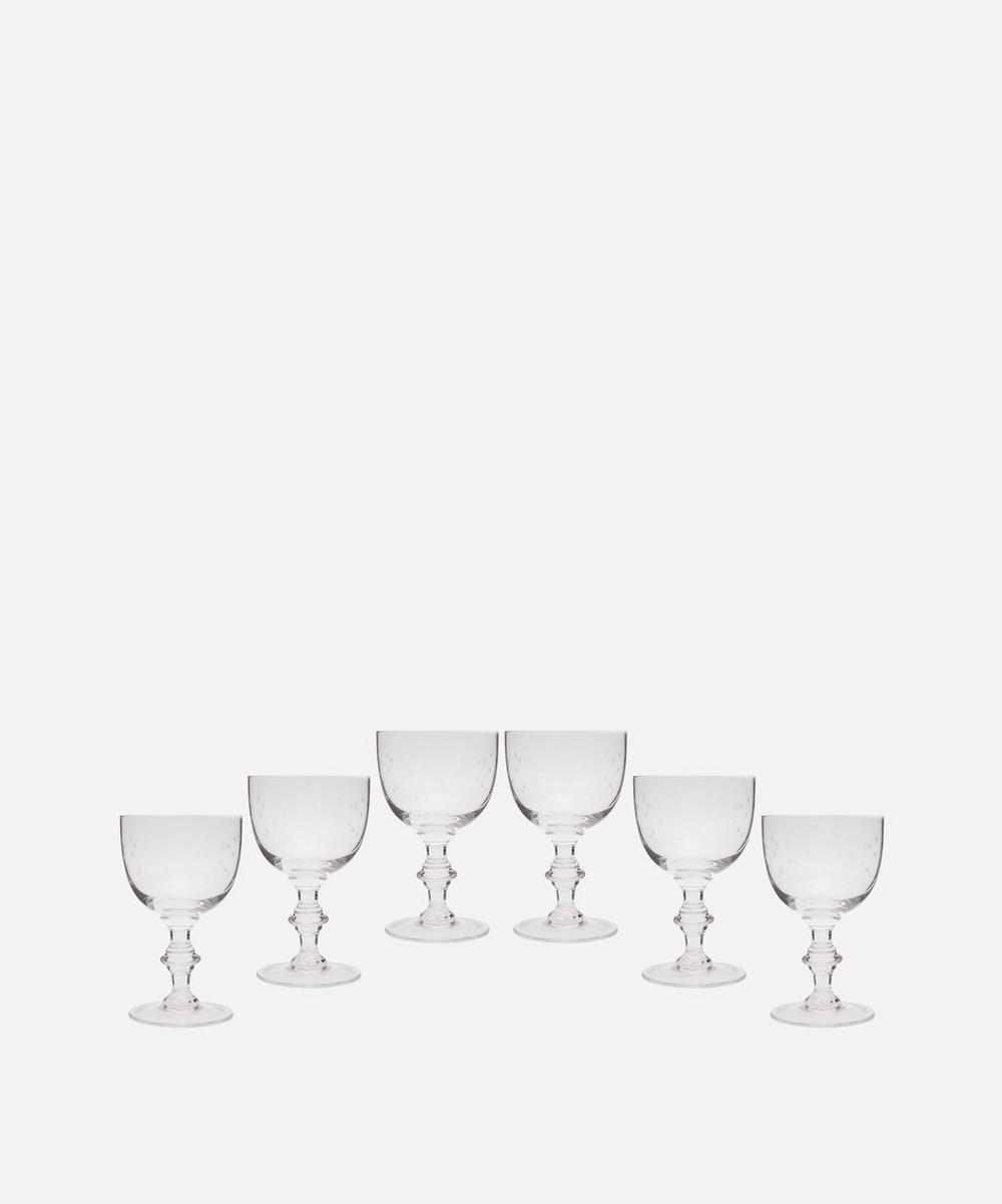 Set of Six Crystal Wine Goblets With Stars