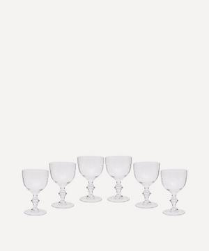Set of Six Crystal Wine Goblets With Lens