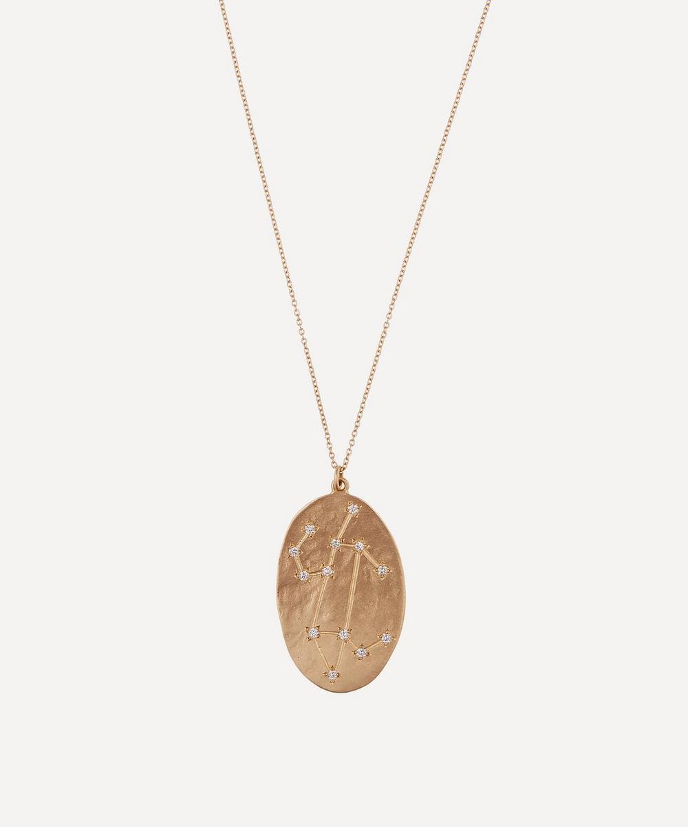 Gold Leo Astrology Diamond Necklace
