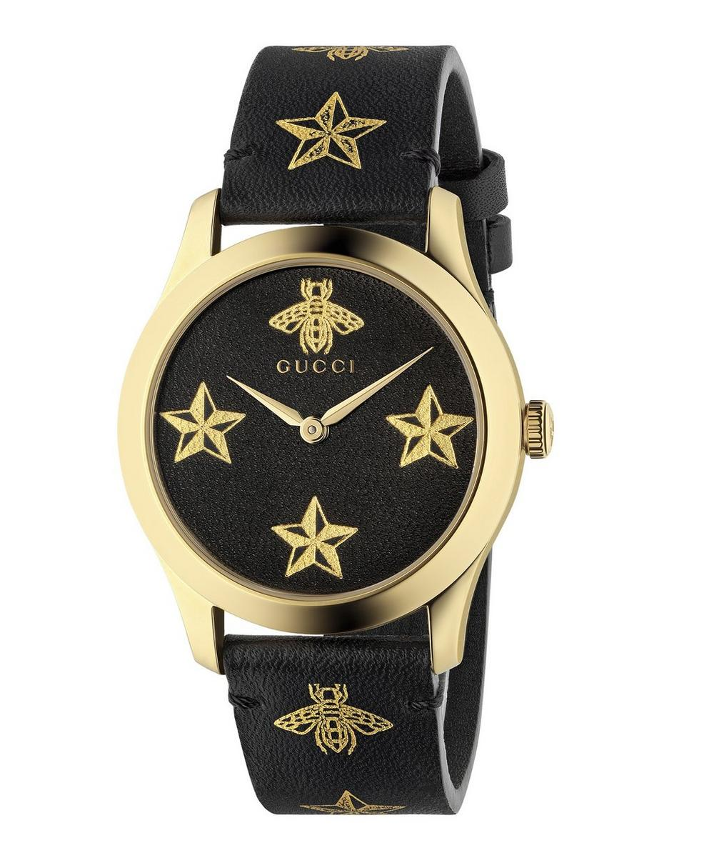 G-Timeless Leather Bee and Star Motif Watch