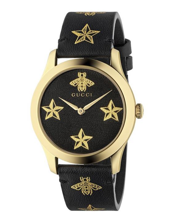bc6fd3349079 G-Timeless Leather Bee and Star Motif Watch ...