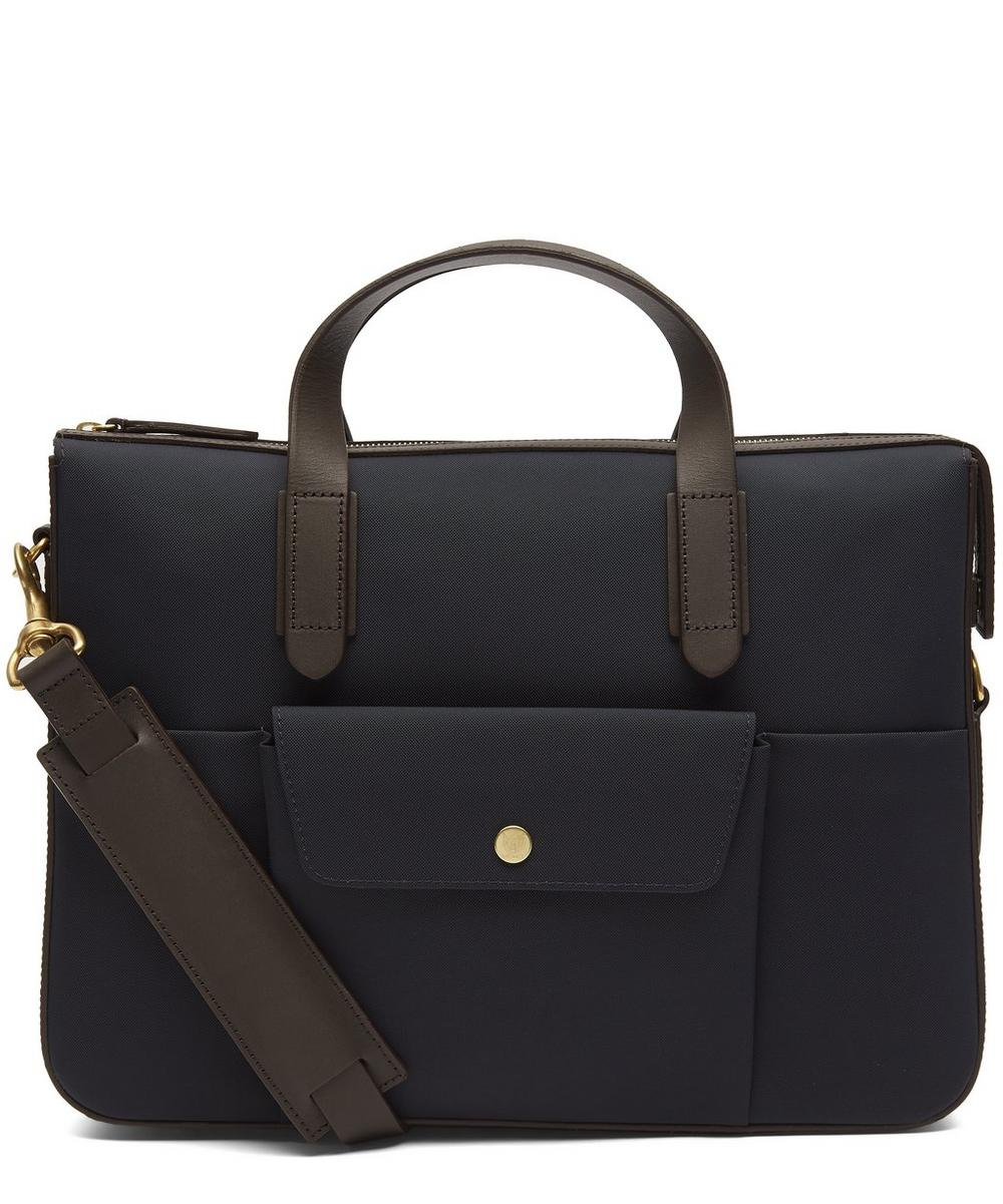 MISMO Canvas And Leather Briefcase in Navy