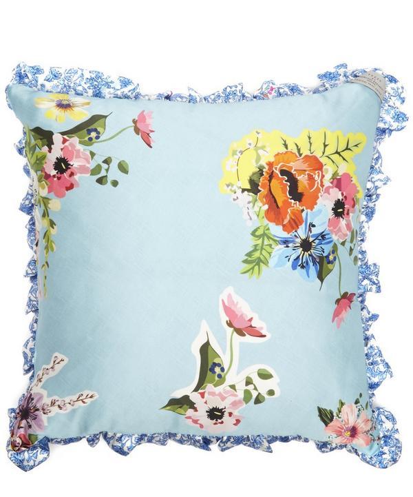 Silk Satin Blue Botanical Cut-out Cushion