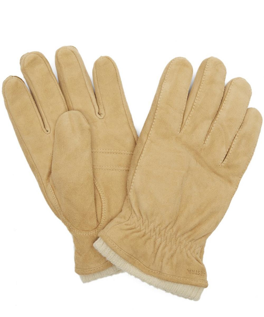 HESTRA GLOVES Nathan Goat Suede Gloves in Yellow