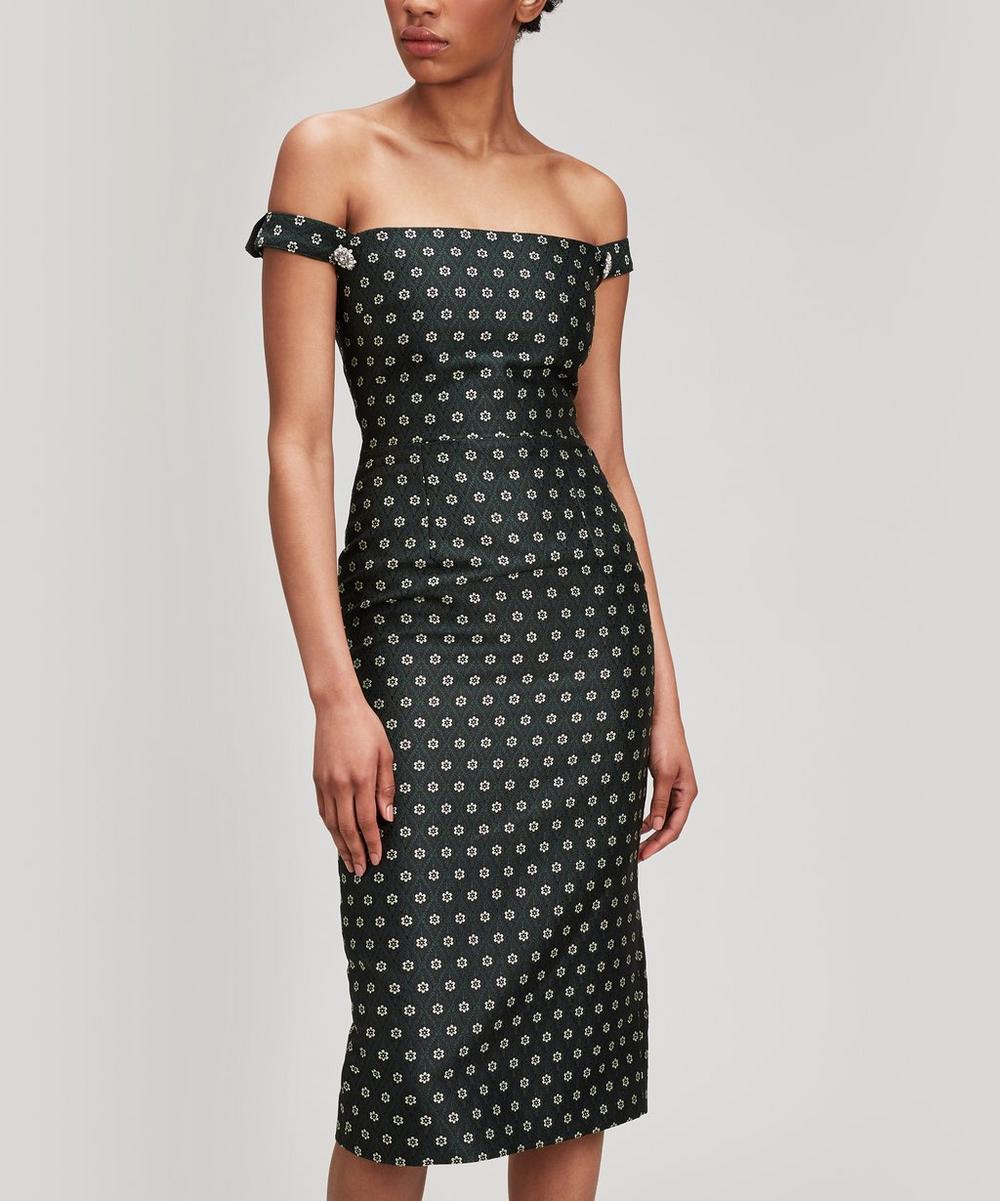 Falling Strap Crystal Brooch Dress