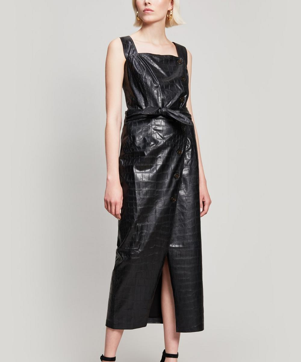 Croc-Embossed Vegan Leather Dress