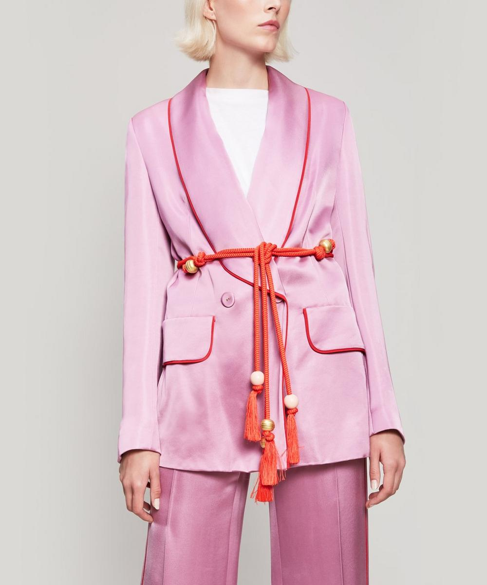 Cord Belt Piping-Trimmed Satin Blazer