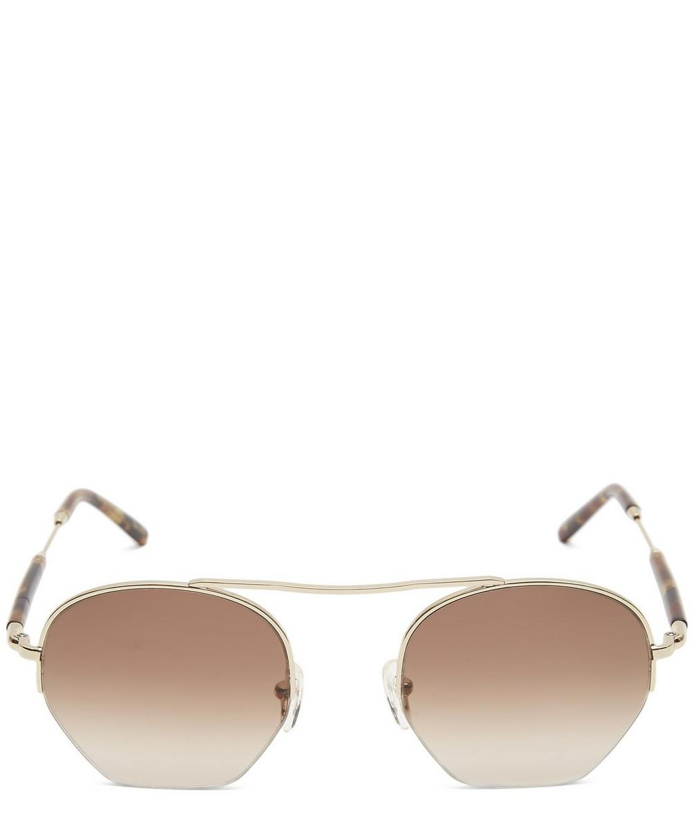 MOSCOT Punim Half Rim Sunglasses in Brown/Gold