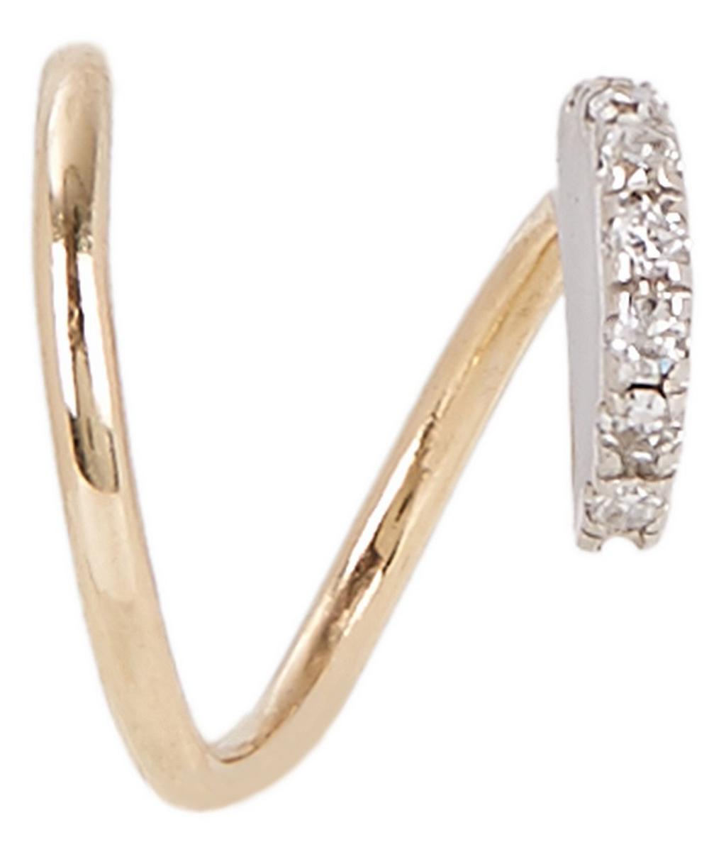Gold Diamond Lila Blanc Twirl Earring Right