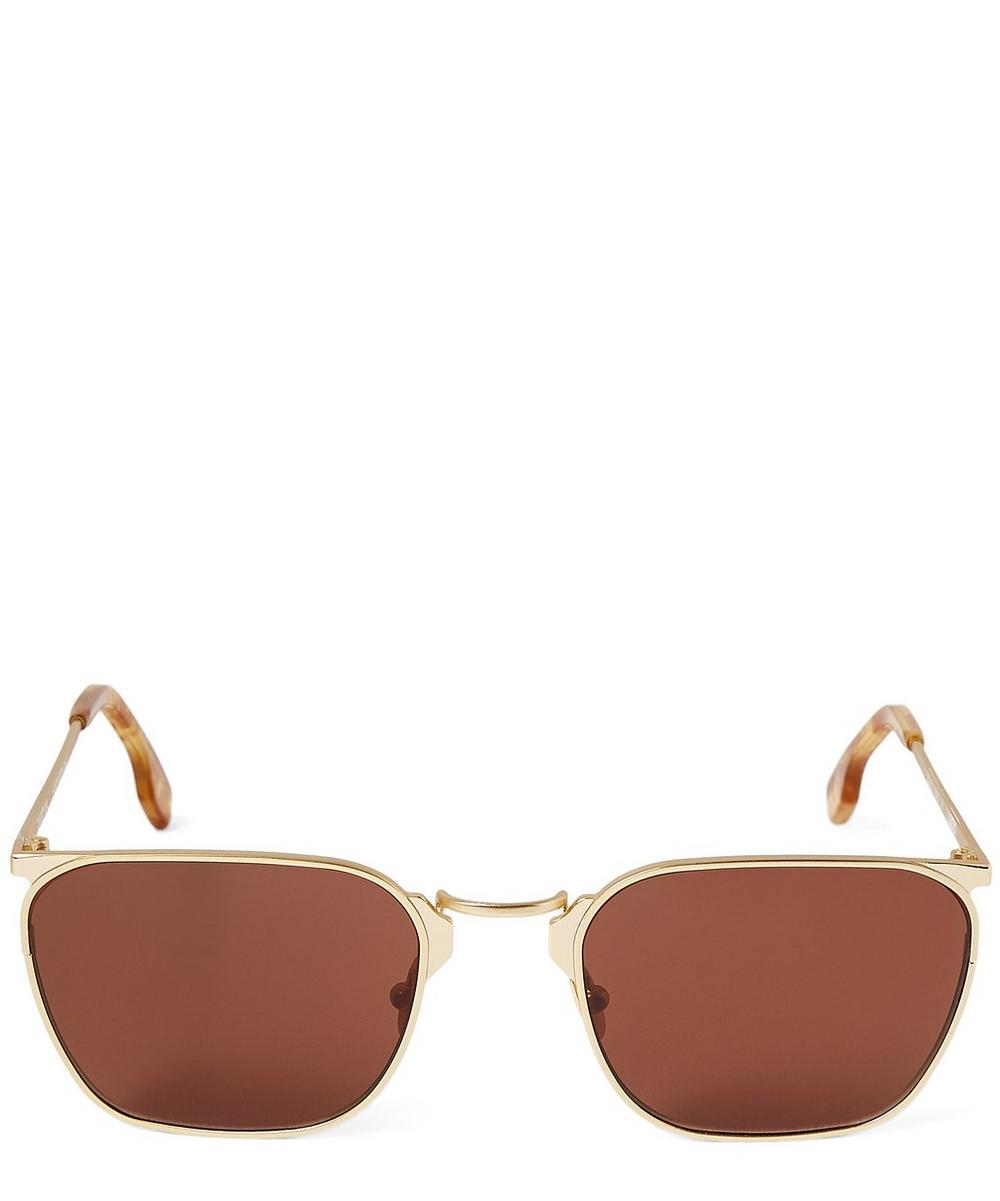 ZANZAN Libero Rectangular Havana Sunglasses in Gold Rum
