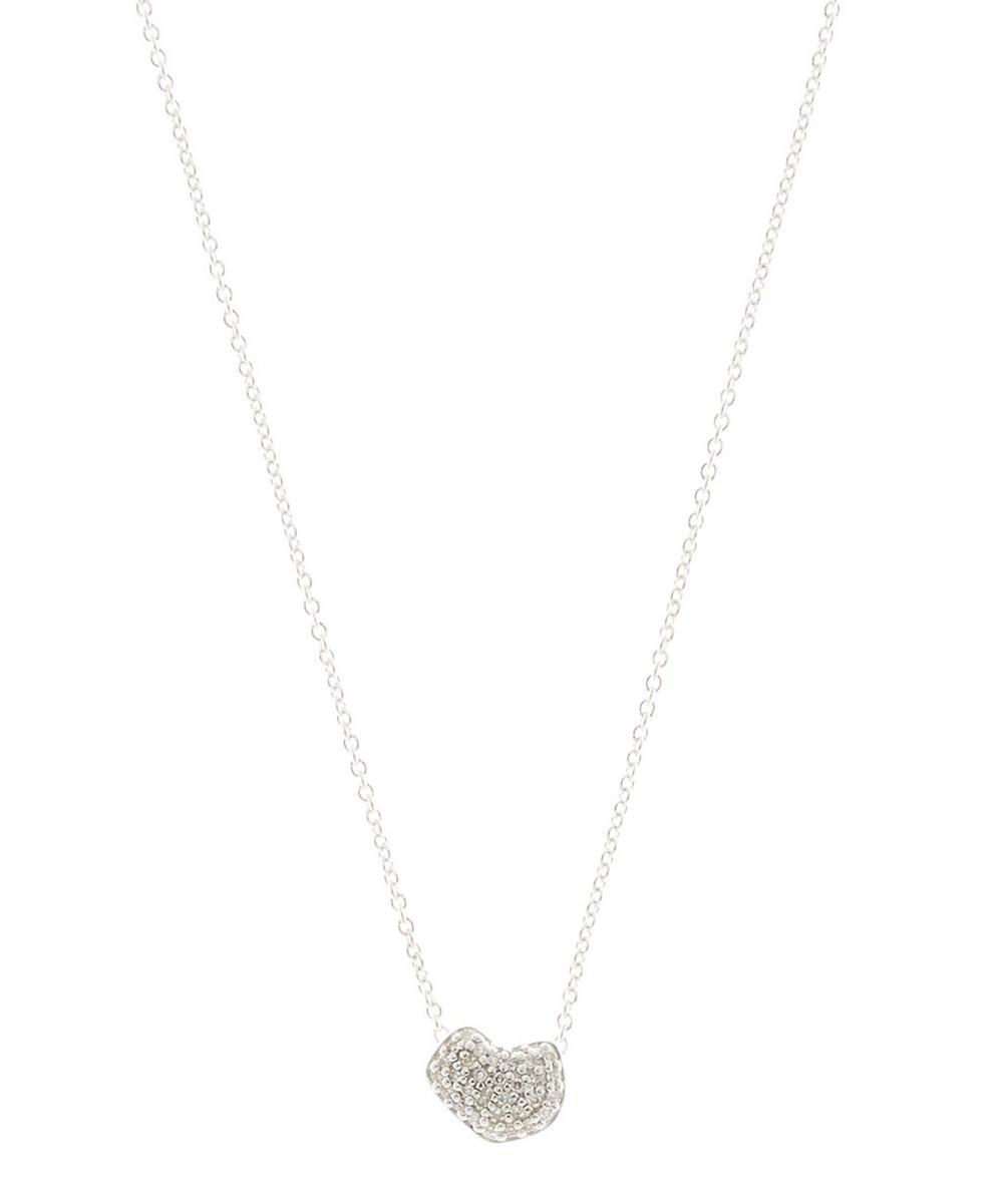 Silver Nura Mini Heart Diamond Necklace