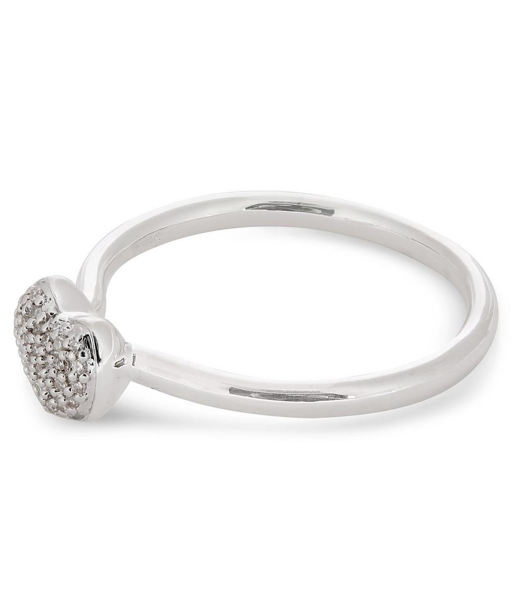 Silver Nura Mini Heart Diamond Ring