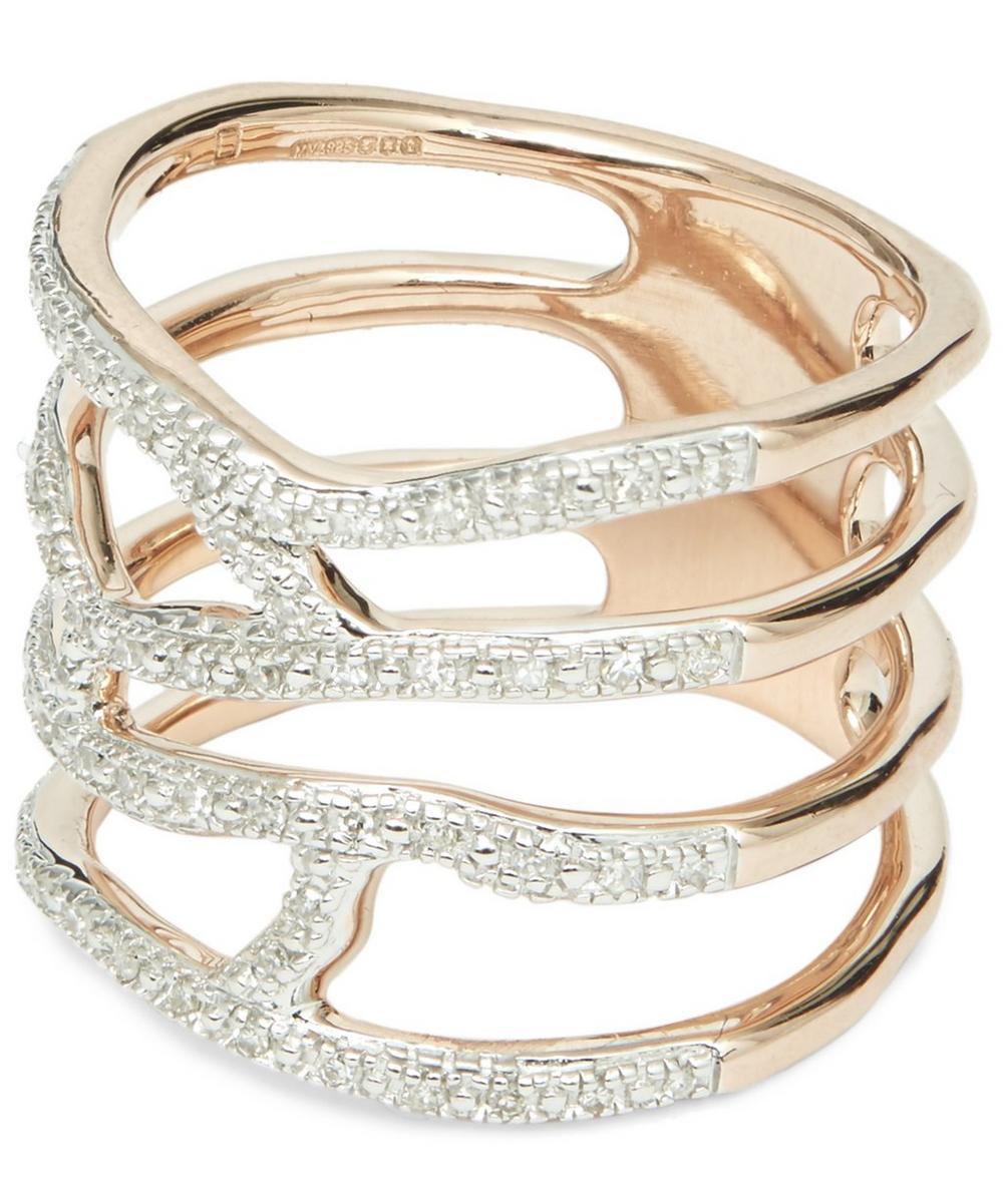 Rose Gold Vermeil Riva Waterfall Diamond Cocktail Ring