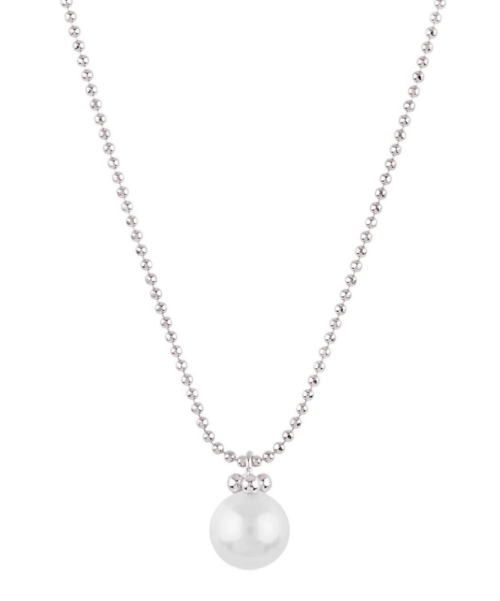 Silver Ball Chain Freshwater Pearl Pendant Necklace