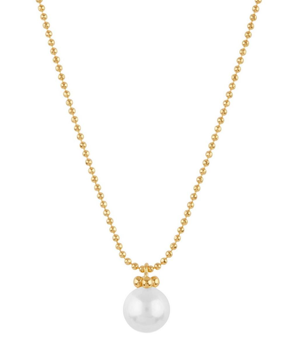 Gold Vermeil Ball Chain Freshwater Pearl Pendant Necklace