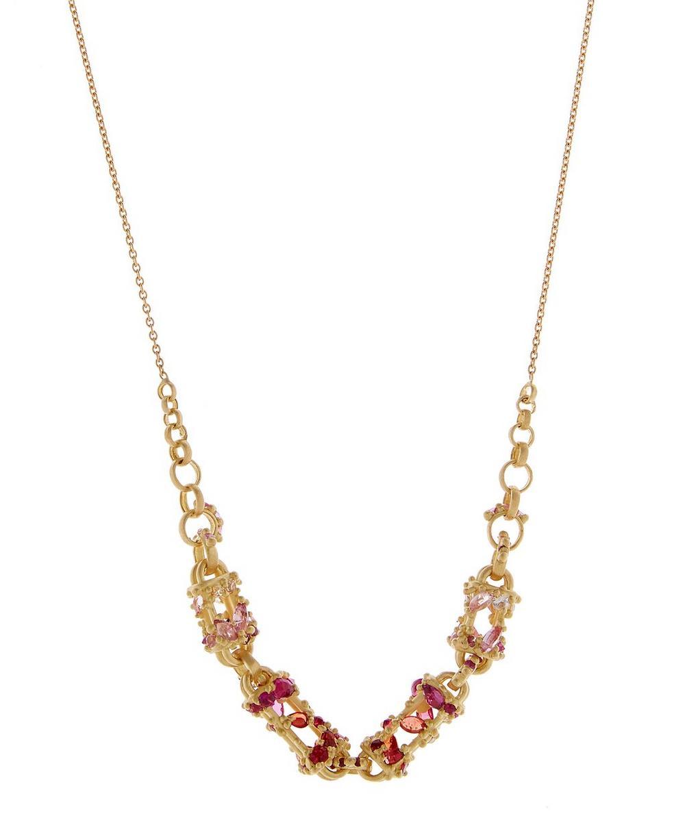POLLY WALES Gold Plum Blossom Fontaine De Fleurs Chain Necklace