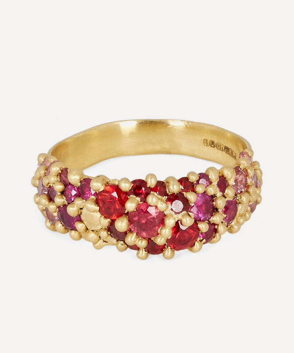 POLLY WALES Gold Plum Blossom Sapphire River Ring