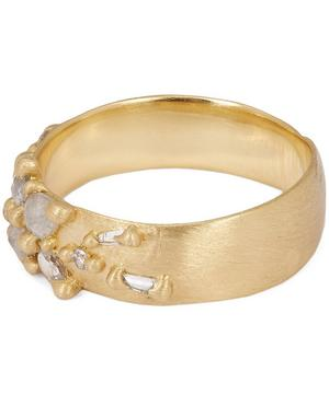 Gold Frosty Diamond Lotus Ring