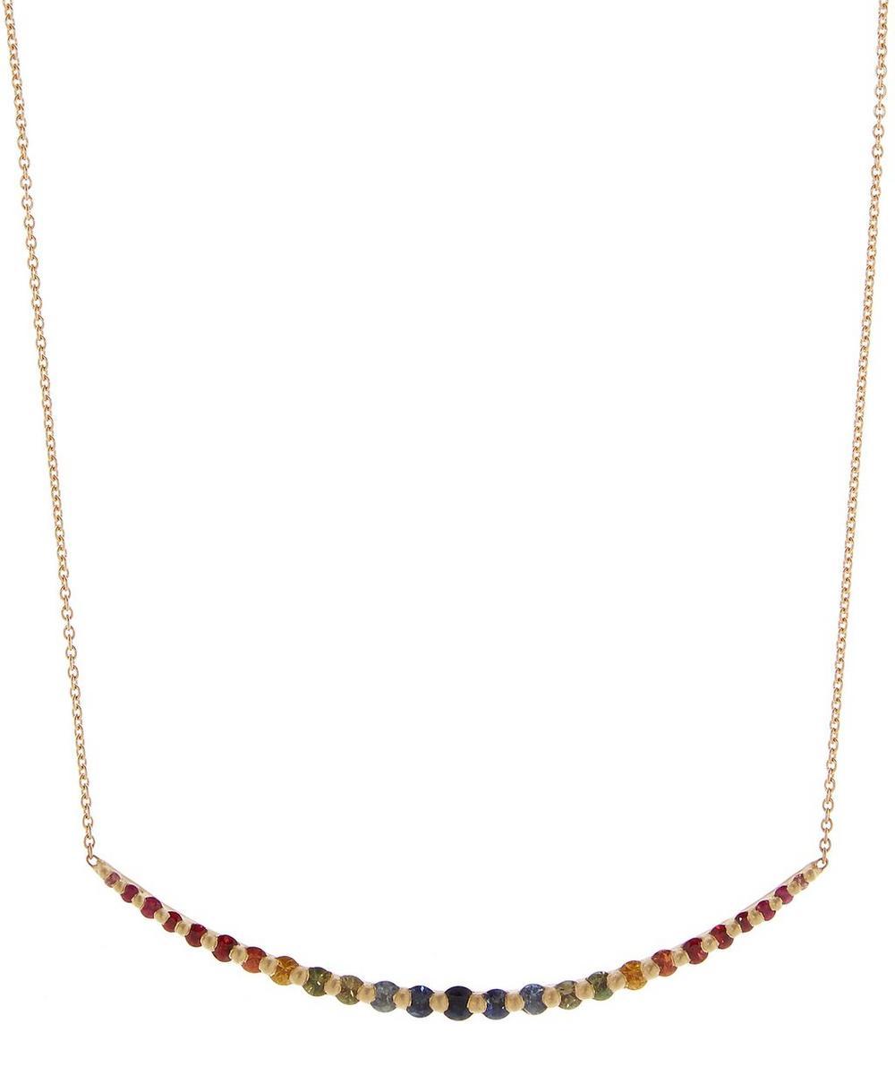 Gold Rainbow Sapphire Halo Necklace