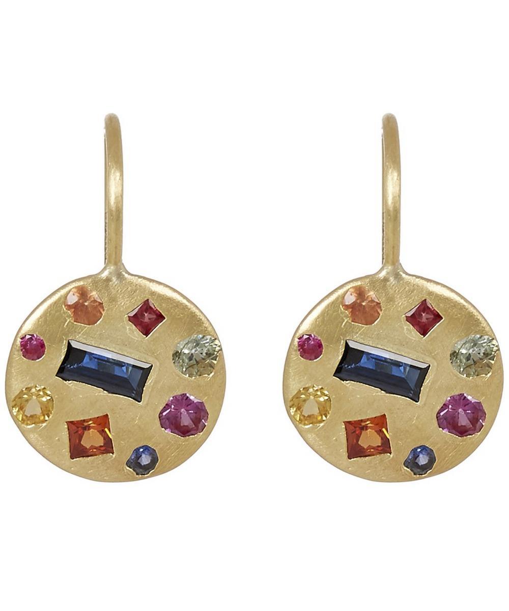 POLLY WALES Gold Harlequin Celeste Disc Earrings