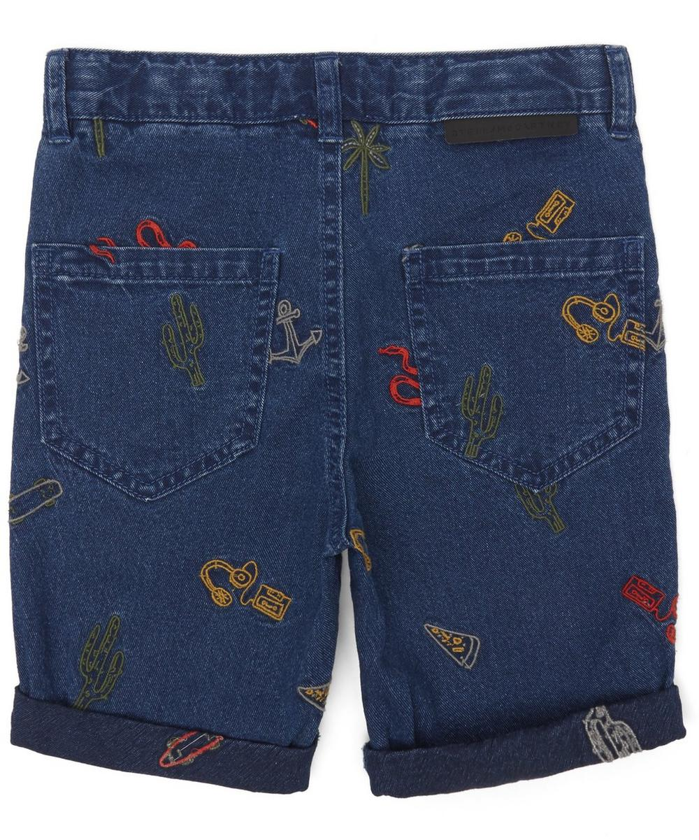 Embroidered Palm Tree Denim Shorts 2-8 Years