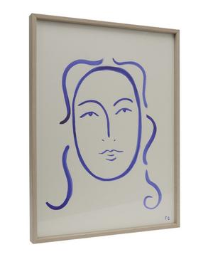 Face in Blue Framed Drawing