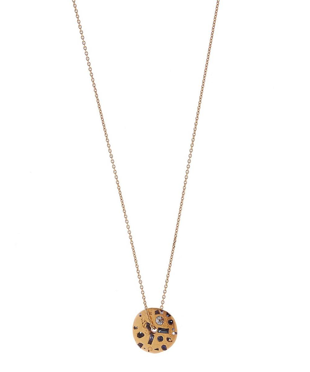 POLLY WALES Rose Gold Celeste Sapphire Crystal Spinner Pendant Necklace