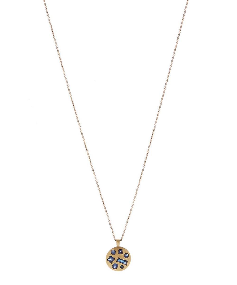 Gold Medium Sapphire Crystal Pendant Necklace