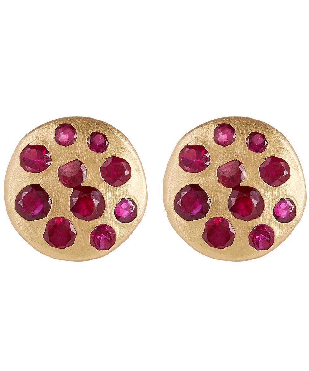 Gold Celeste Red Crystal Disc Stud Earrings