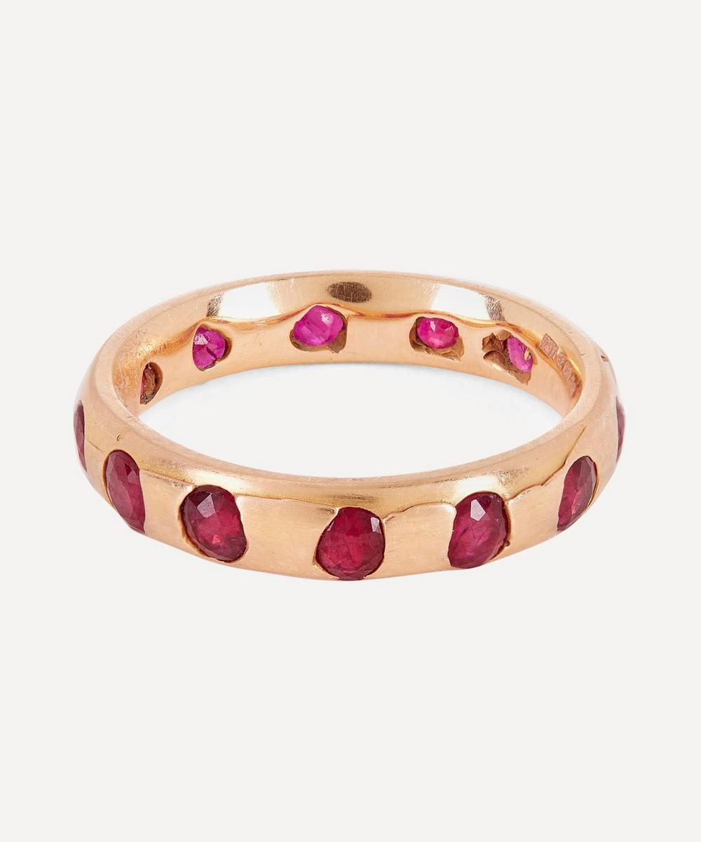 POLLY WALES ROSE GOLD CELESTE RUBY CRYSTAL RING
